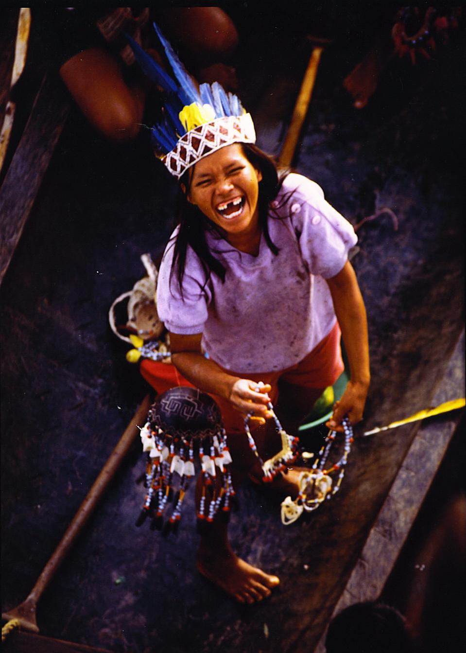 Amazon Native Women Native villages with satelliteAmazon Native Women