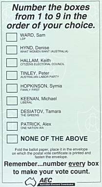Paper Voting Ballot Sample